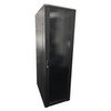 A product image of LDR 42U Server Rack Cabinet Glass Door (600mm x 1000mm) Flat Packed (3 Cartons) With 1x 8 Port PDU & 1x 4 Way Fan - Black Metal Construction