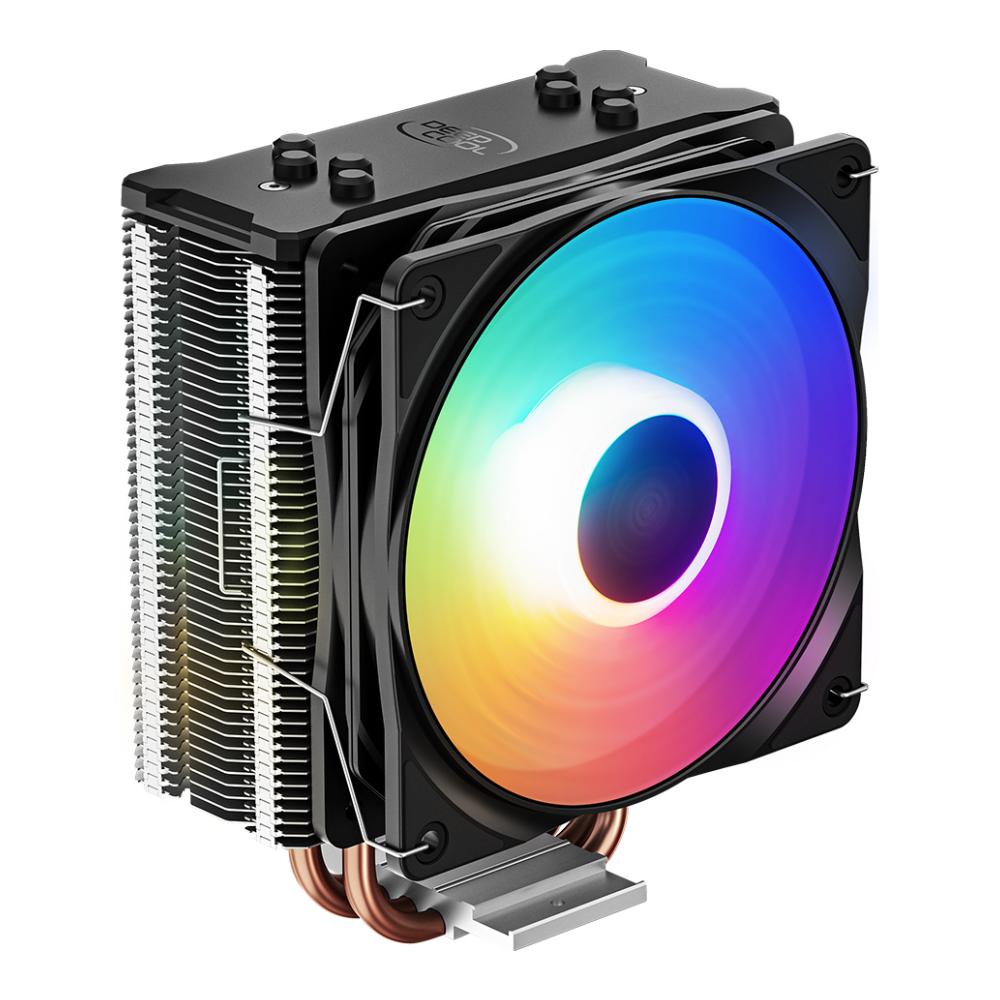 A large main feature product image of Deepcool GAMMAXX 400 XT RGB CPU Air Cooler