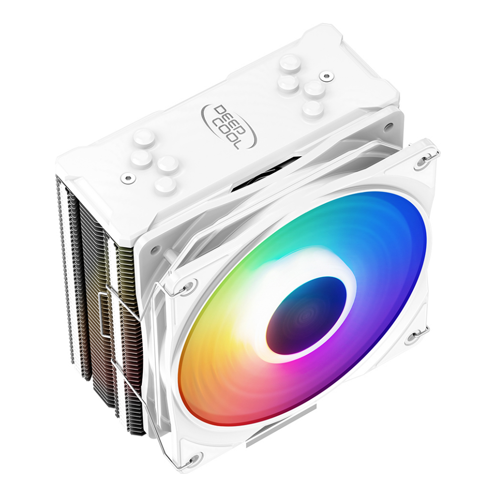 A large main feature product image of Deepcool GAMMAXX 400 XT White RGB CPU Air Cooler