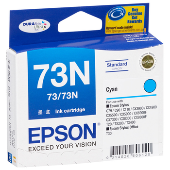 Product image of Epson DURABrite 73N Cyan Cartridge - Click for product page of Epson DURABrite 73N Cyan Cartridge