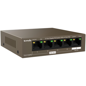 Product image of Tenda TEG1105PD 5-Port Gigabit PD Switch With 4-Port PoE - Click for product page of Tenda TEG1105PD 5-Port Gigabit PD Switch With 4-Port PoE