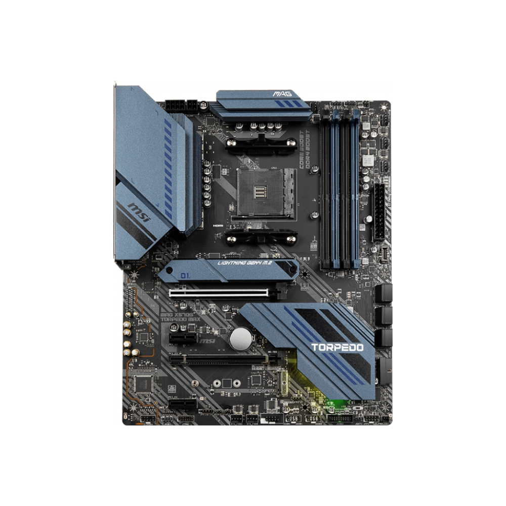 A large main feature product image of MSI MAG X570S Torpedo MAX AM4 ATX Desktop Motherboard