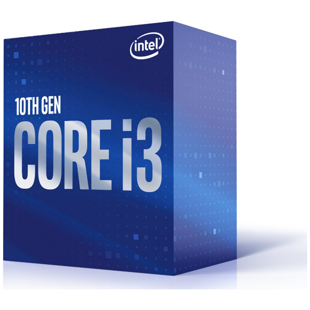 A large main feature product image of Intel Core i3 10100F Comet Lake 4 Core 8 Thread Up To 4.3Ghz  LGA1200 - No iGPU Retail Box