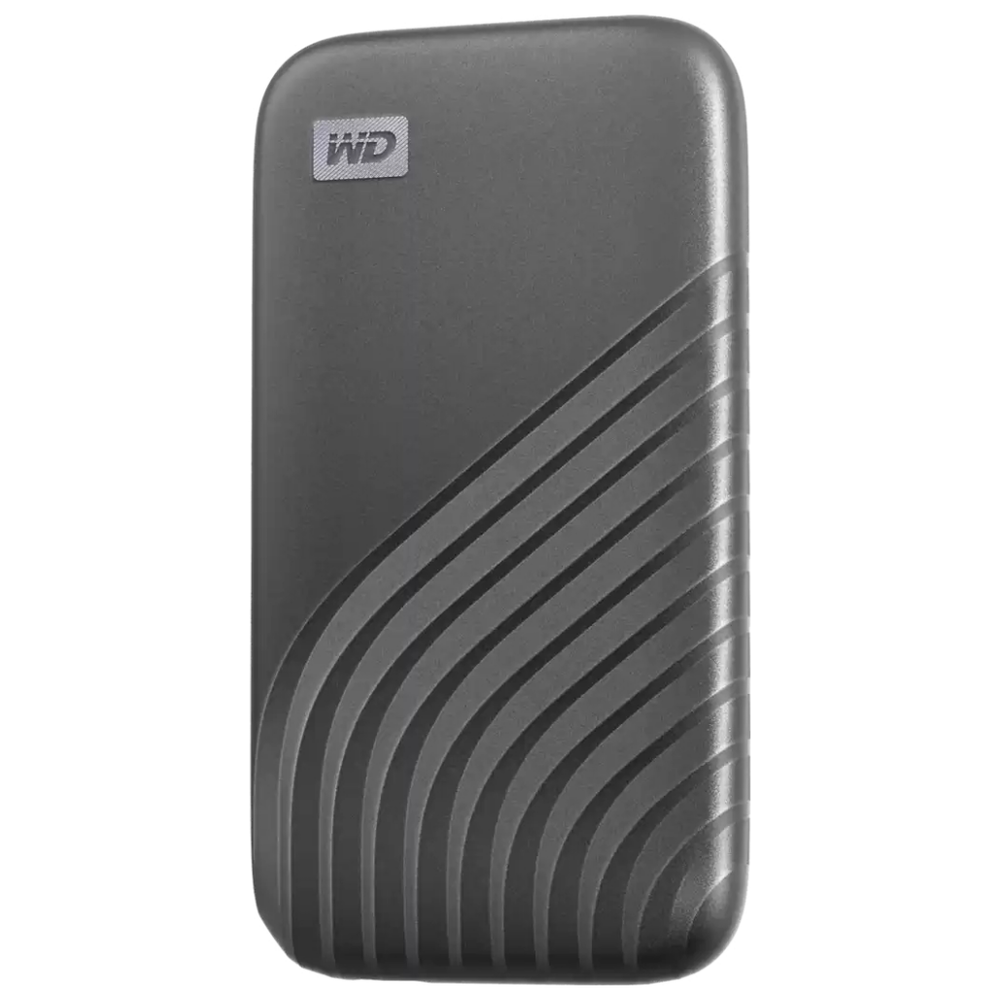 A large main feature product image of WD My Passport 500GB Portable SSD - Grey