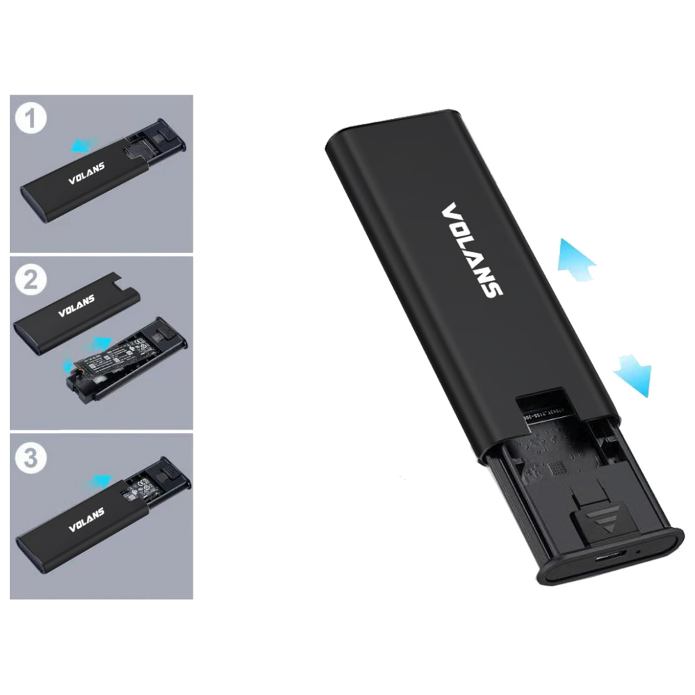 A large main feature product image of Volans Aluminium NVMe PCIe M.2 SSD to USB3.1 Gen 2 Type C Enclosure