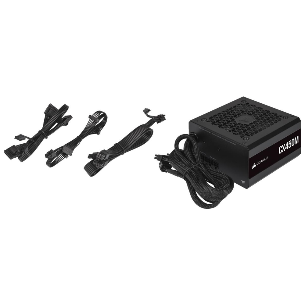 A large main feature product image of Corsair CX450M 2021 450W 80Plus Bronze Semi-Modular Power Supply