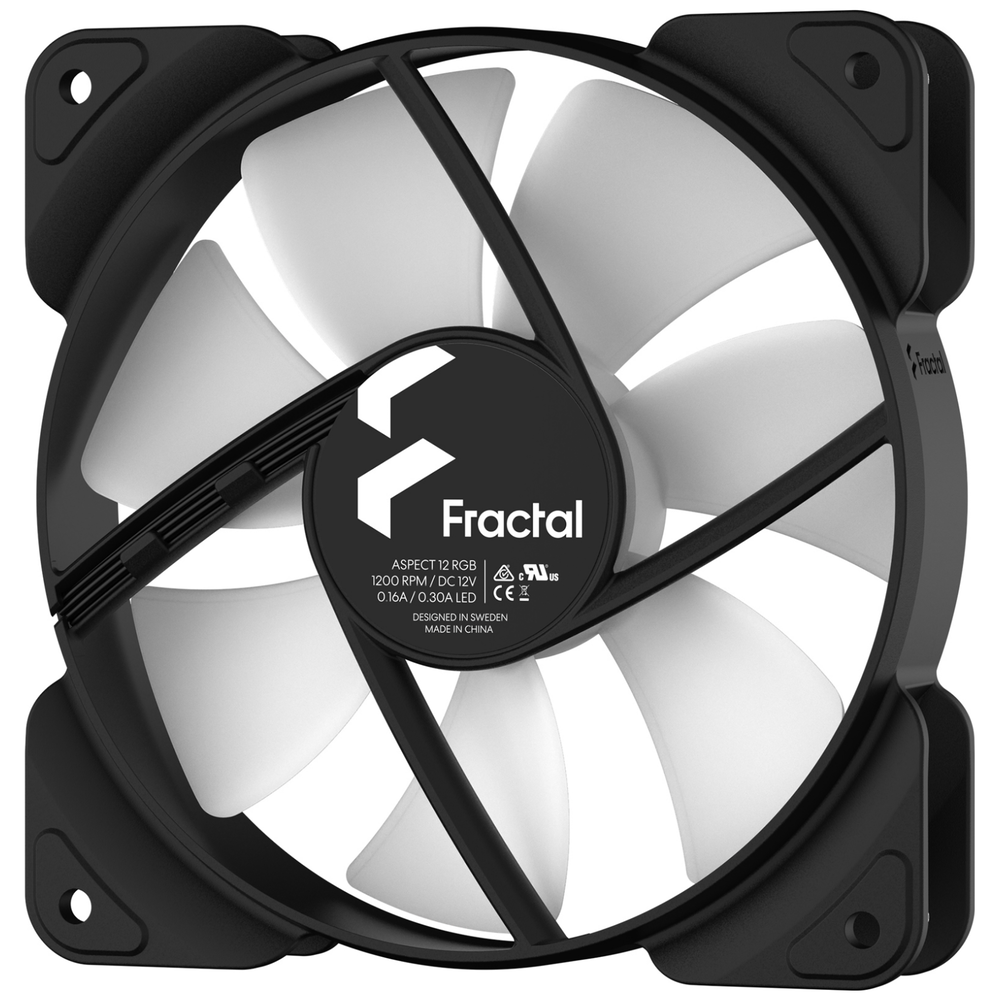 A large main feature product image of Fractal Design Aspect 12 120mm RGB Fan Black 3-Pack