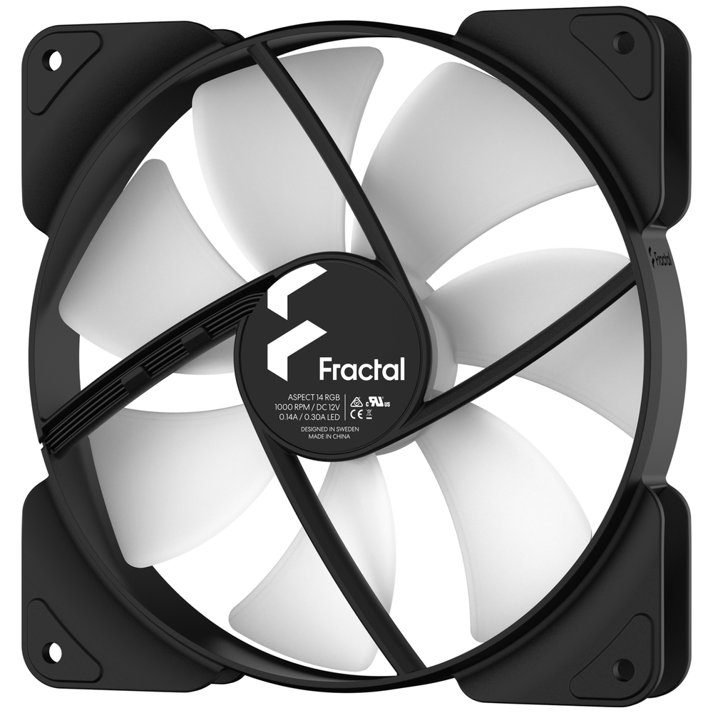 A large main feature product image of Fractal Design Aspect 14 RGB 140mm Fan Black 3-Pack