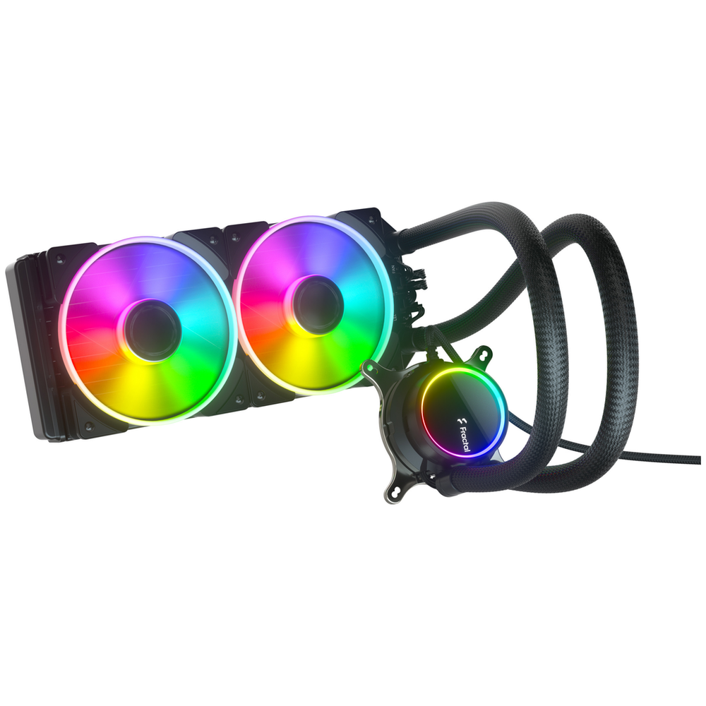 A large main feature product image of Fractal Design Celsius+ S24 Prisma 240mm AIO CPU Cooler