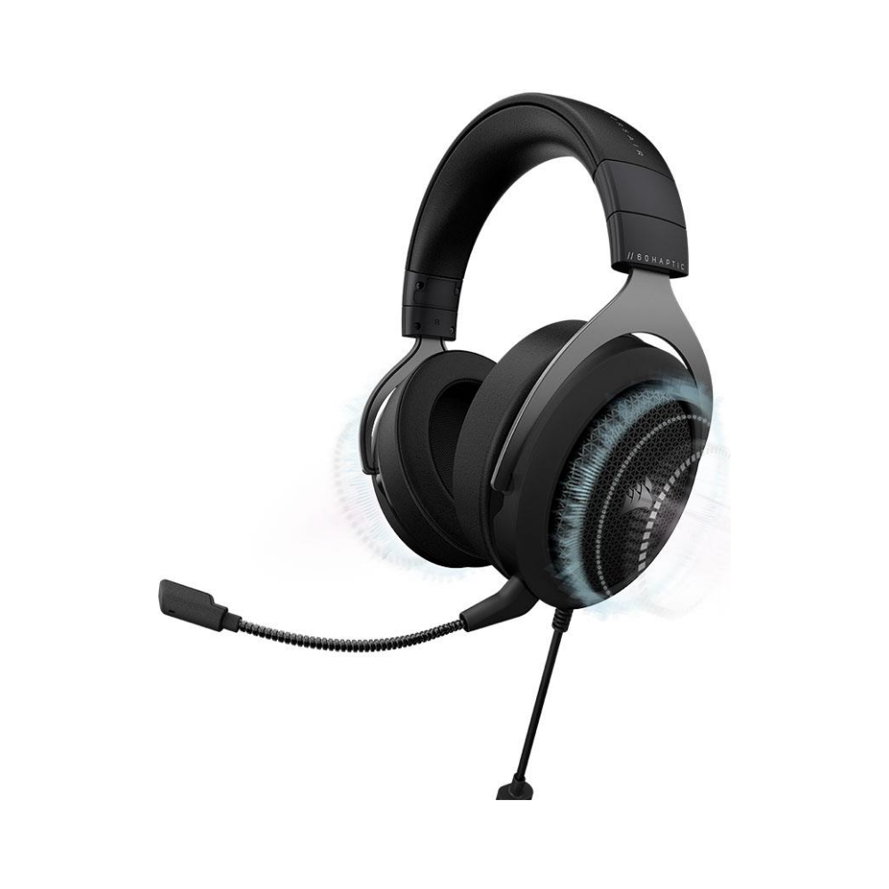 A large main feature product image of Corsair HS60 HAPTIC Stereo Gaming Headset with Haptic Bass Carbon