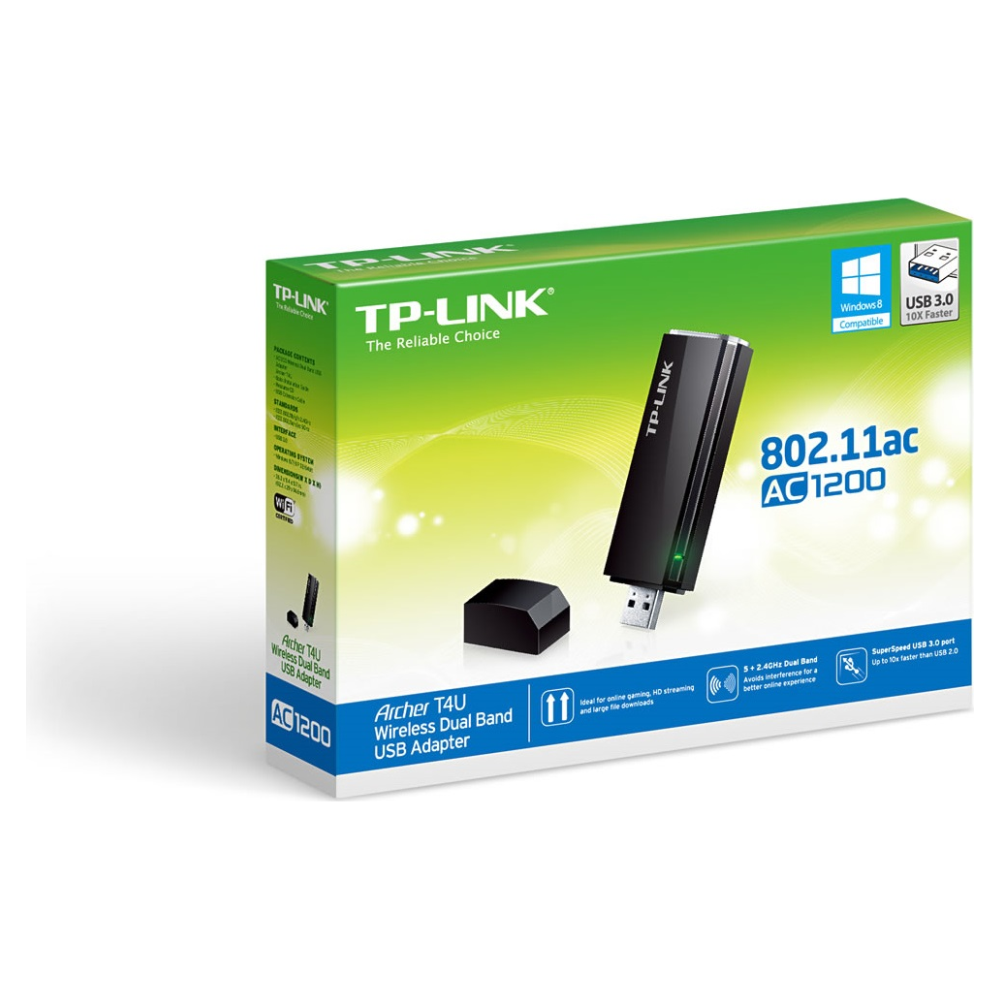 A large main feature product image of TP-LINK Archer T4U 802.11ac AC1300 Wireless Dual Band USB Adapter
