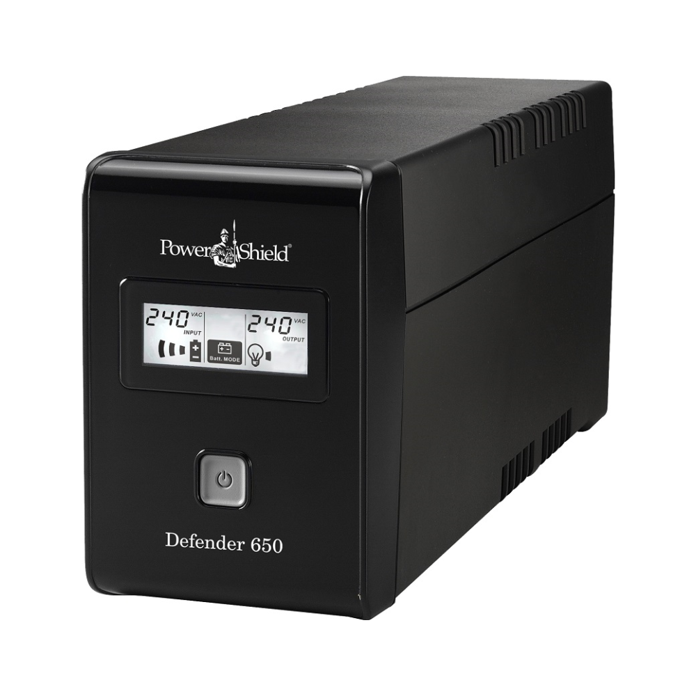 A large main feature product image of Power Shield Defender LCD 650VA UPS