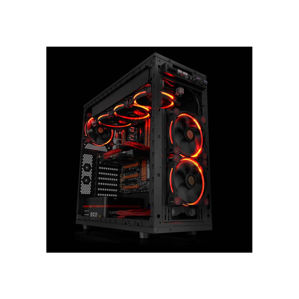 A large main feature product image of Thermaltake Riing Single 120mm Red LED SP Fan