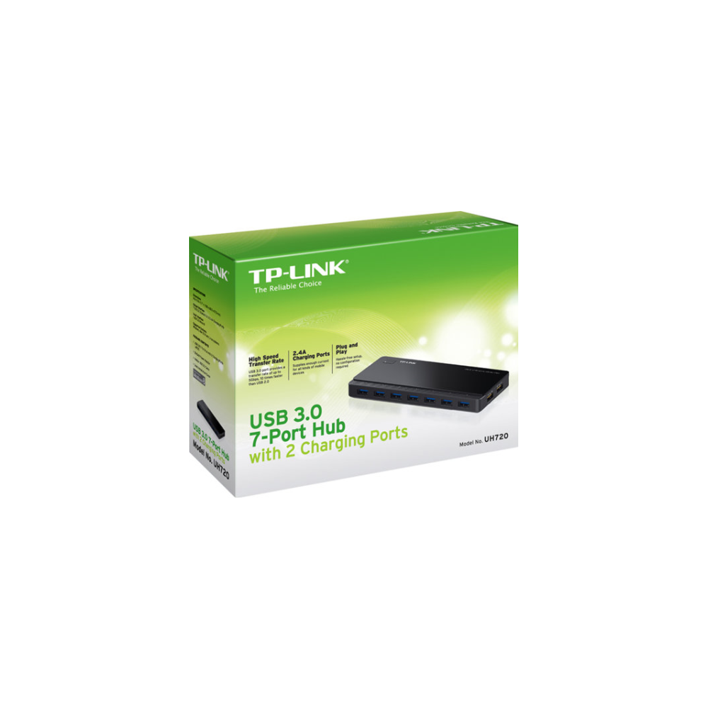 A large main feature product image of TP-LINK UH720 7-Port USB3.0 Powered Hub w/ 2 Charging Ports