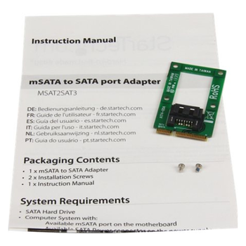 Product image of Startech mSATA to SATA HDD/SSD Adapter Converter - Click for product page of Startech mSATA to SATA HDD/SSD Adapter Converter