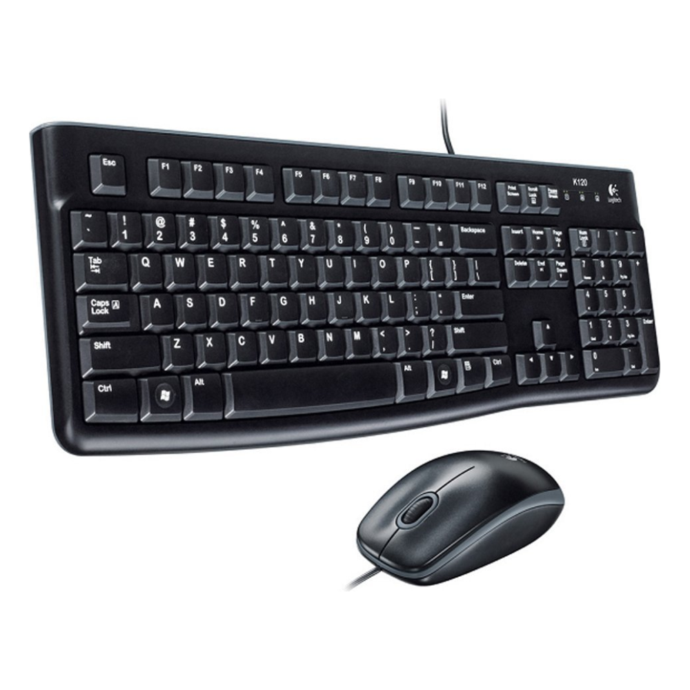 A large main feature product image of Logitech MK120 Wired Desktop