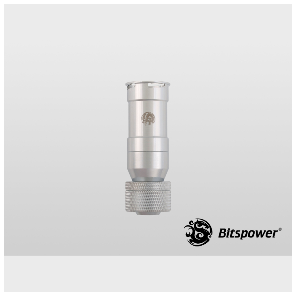"""Bitspower G1//4 Silver Dual Rotary 45-Degree Compression Fitting-ID 1//2/"""" OD 3//4/"""""""
