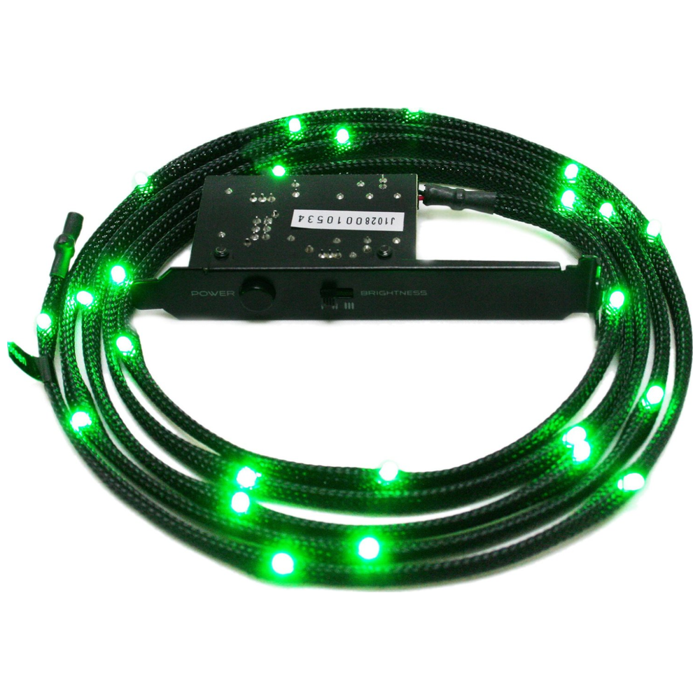 A large main feature product image of NZXT Sleeved Green LED Cable 100CM