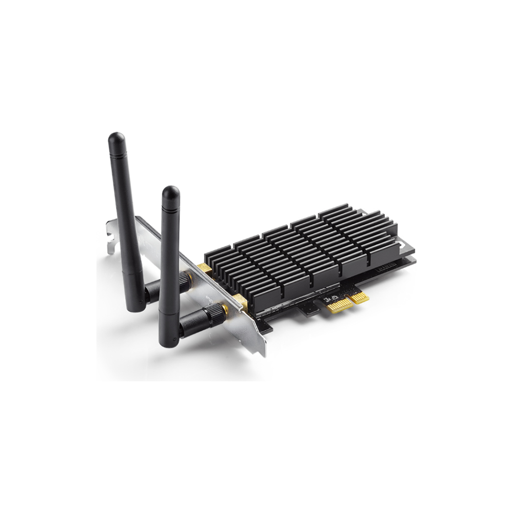 A large main feature product image of TP-LINK Archer T6E Dual-Band Wireless-AC1300 PCIe Adapter