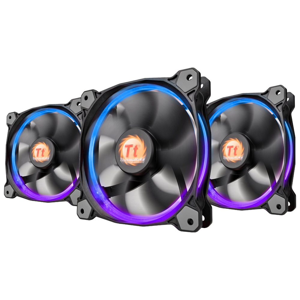 A large main feature product image of Thermaltake Riing 3 Pack 120mm RGB LED SP Fans w/ Controller