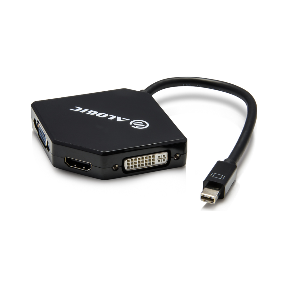 A large main feature product image of ALOGIC 3in1 Mini DisplayPort to HDMI/DVI/VGA Adapter