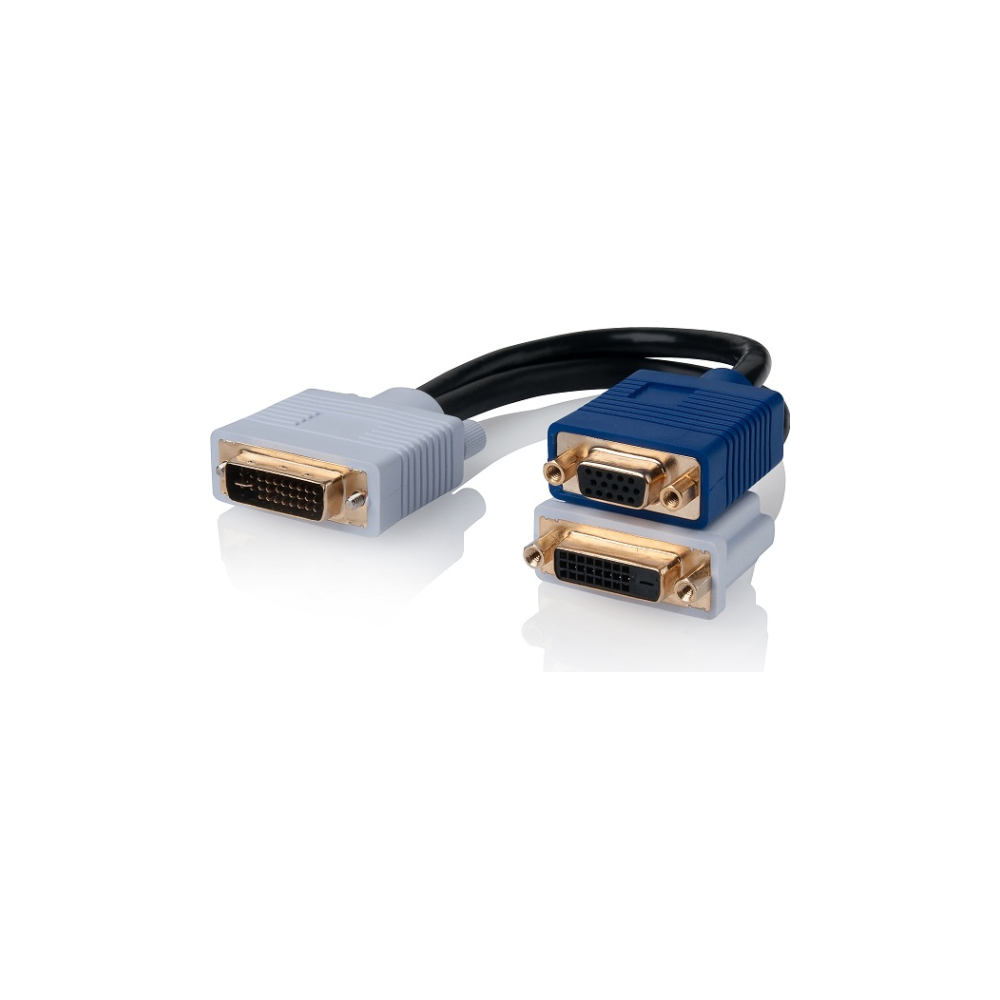 A large main feature product image of ALOGIC DVI-I to DVI-D and VGA Video Splitter Cable
