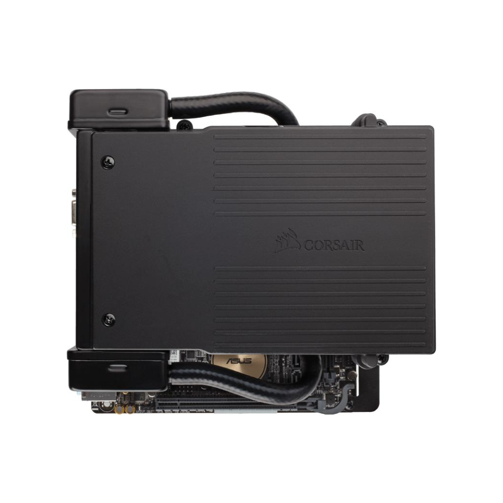 A large main feature product image of Corsair Hydro Series H5 SF Low-Profile AIO Liquid CPU Cooler