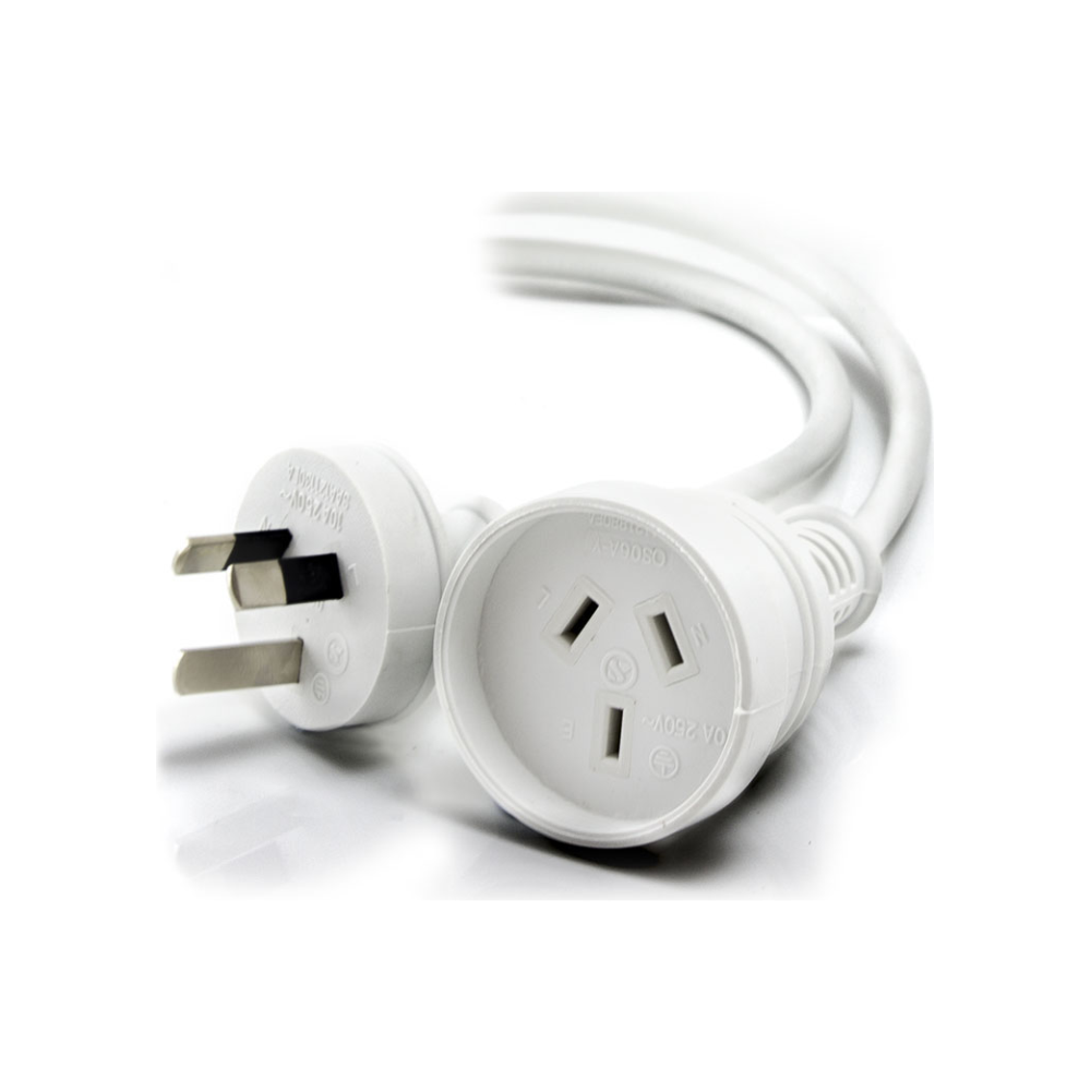A large main feature product image of ALOGIC 20m Aus 3 Pin Mains Power Extension Cable WHITE   Male to Female