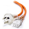 A product image of ALOGIC 5m Medical Power Cable Aus 3 Pin Mains Plug (Male) to IEC C13 (Female) Orange