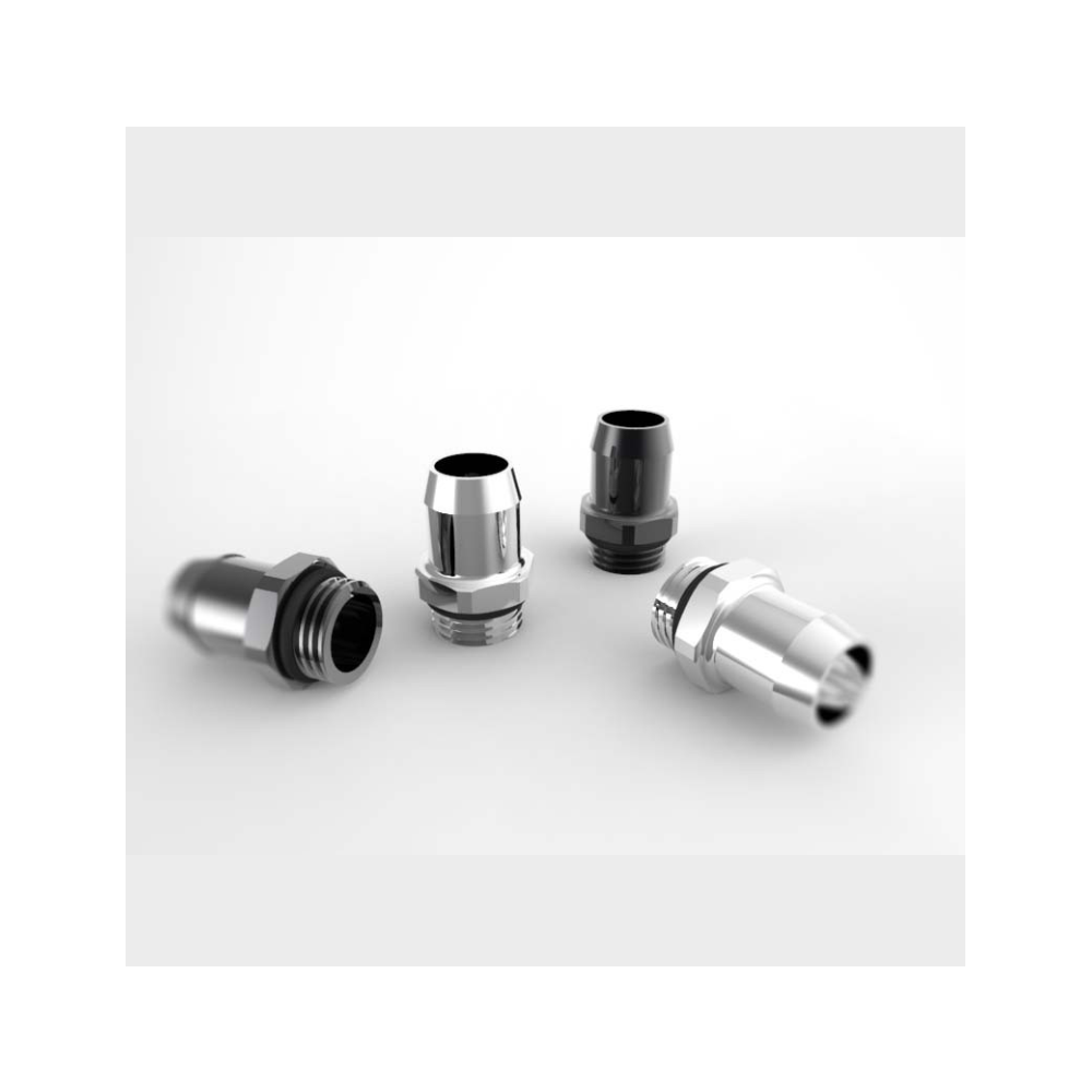 """A large main feature product image of XSPC G1/4 10mm 3/8"""" Black Chrome High Flow Barb Fitting"""