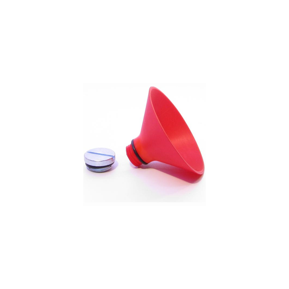 A large main feature product image of PrimoChill G1/4 Threaded Funnel (Red)