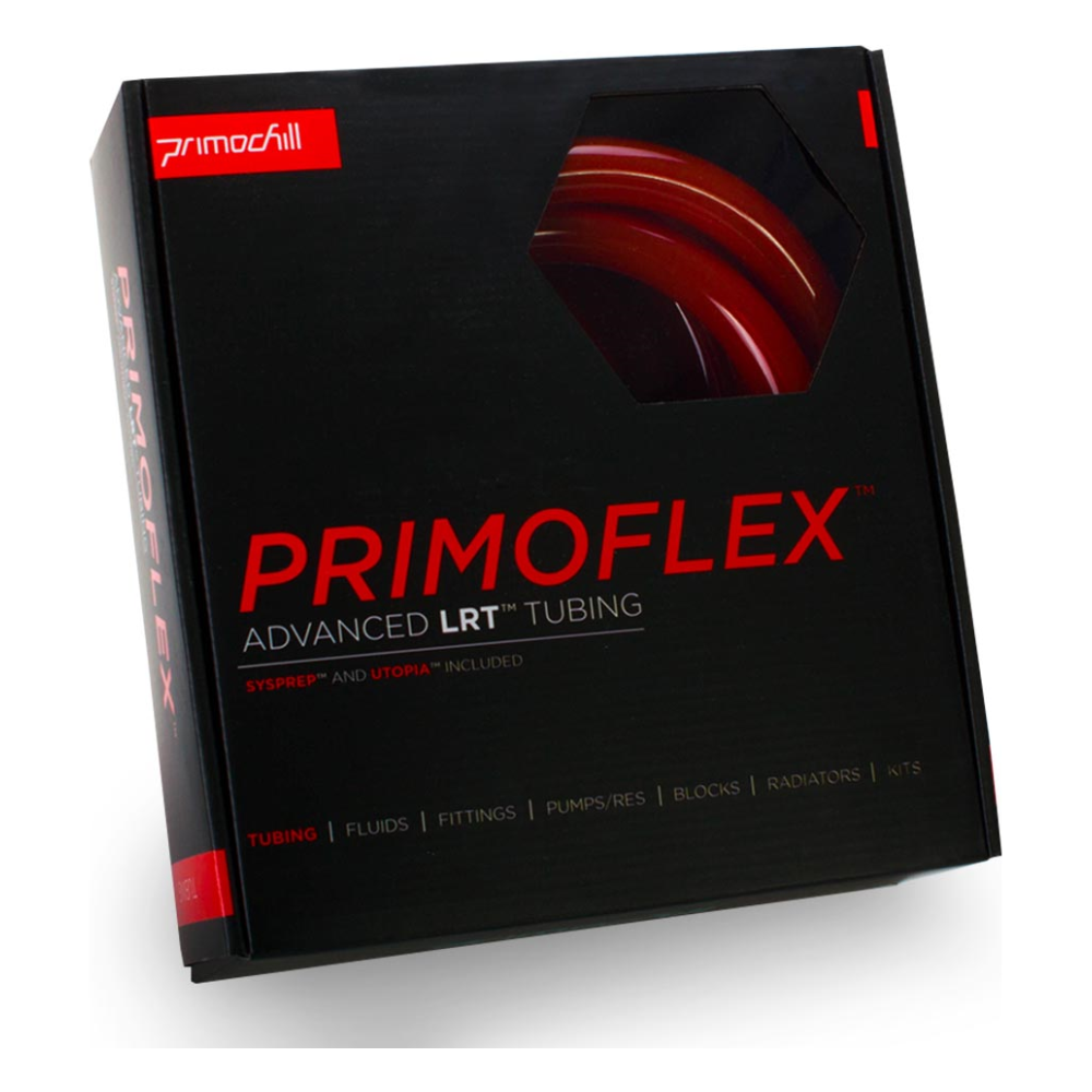 """A large main feature product image of PrimoChill PrimoFlex Advanced LRT 13mm (1/2"""") ID, 19mm (3/4"""") OD 10ft Pack Bloodshed Red Tubing"""