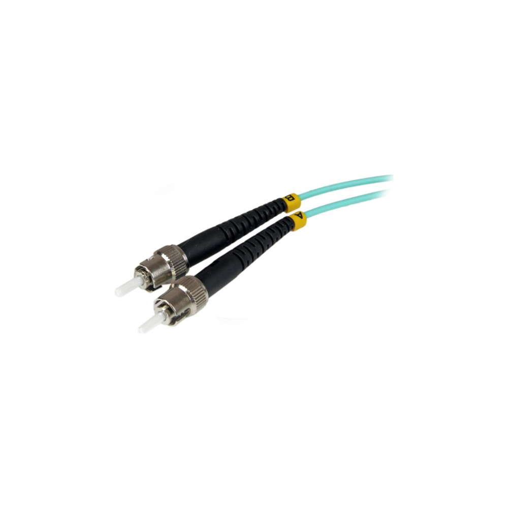 A large main feature product image of Startech 1m ST Fiber Optic Cable 10Gb Aqua - MM Duplex 50/125