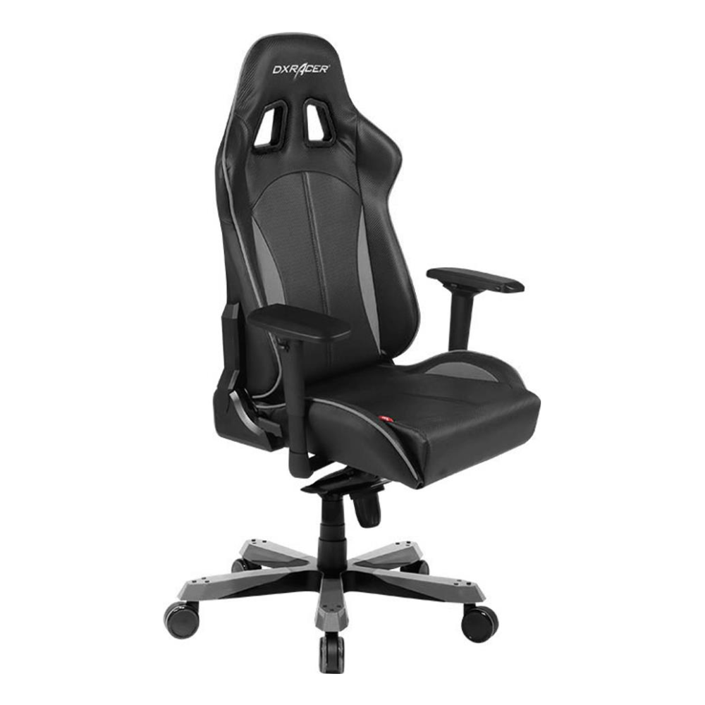 A large main feature product image of DXRacer KS57 Series PC Gaming Chair - Black & Carbon Grey w/ Lumbar Support