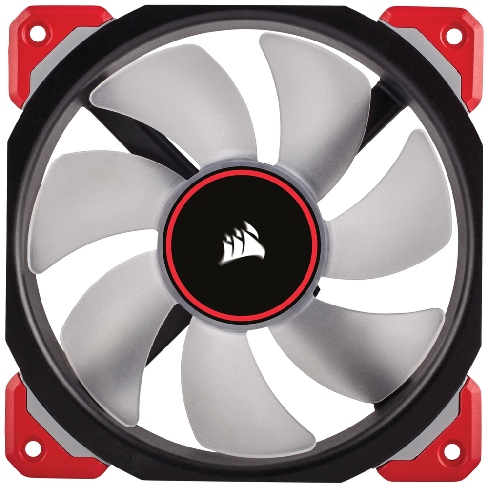 A large main feature product image of Corsair ML120 Pro 120mm Mag-Lev Red LED Cooling Fan