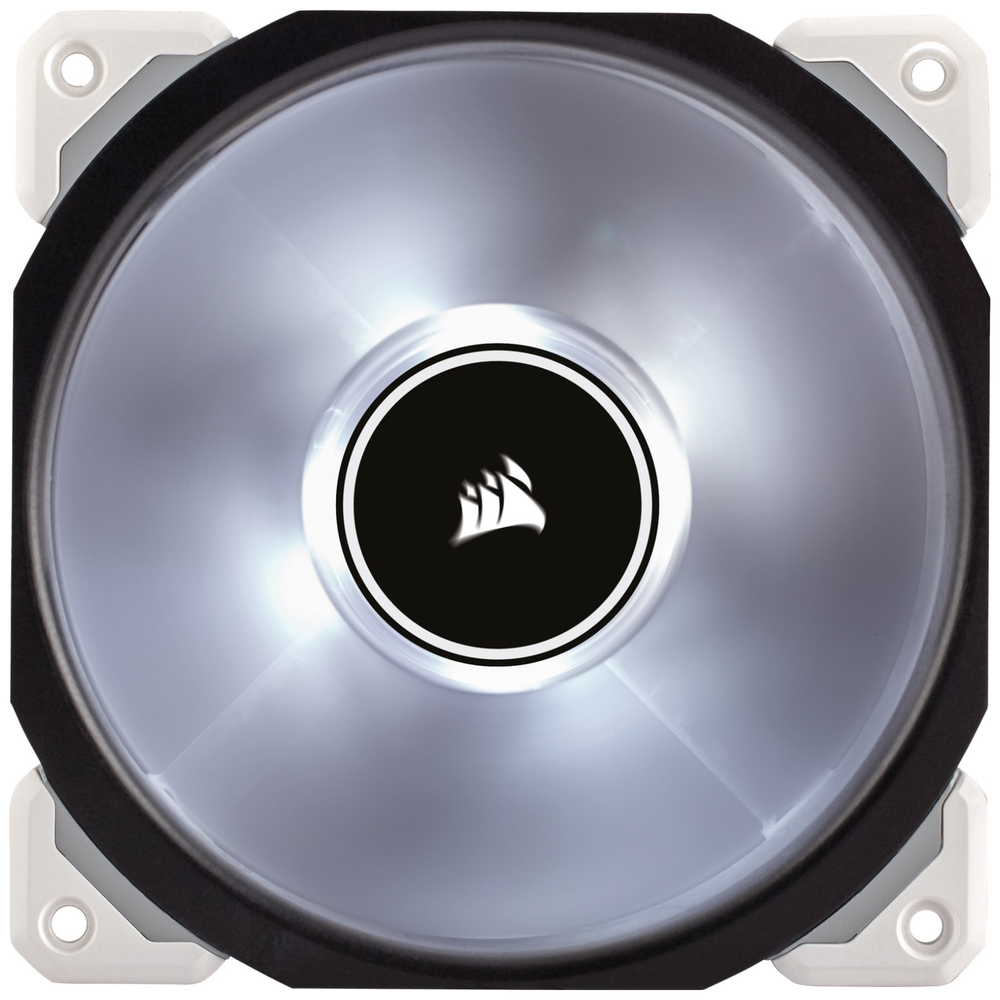 A large main feature product image of Corsair ML120 Pro 120mm Mag-Lev White LED Cooling Fan