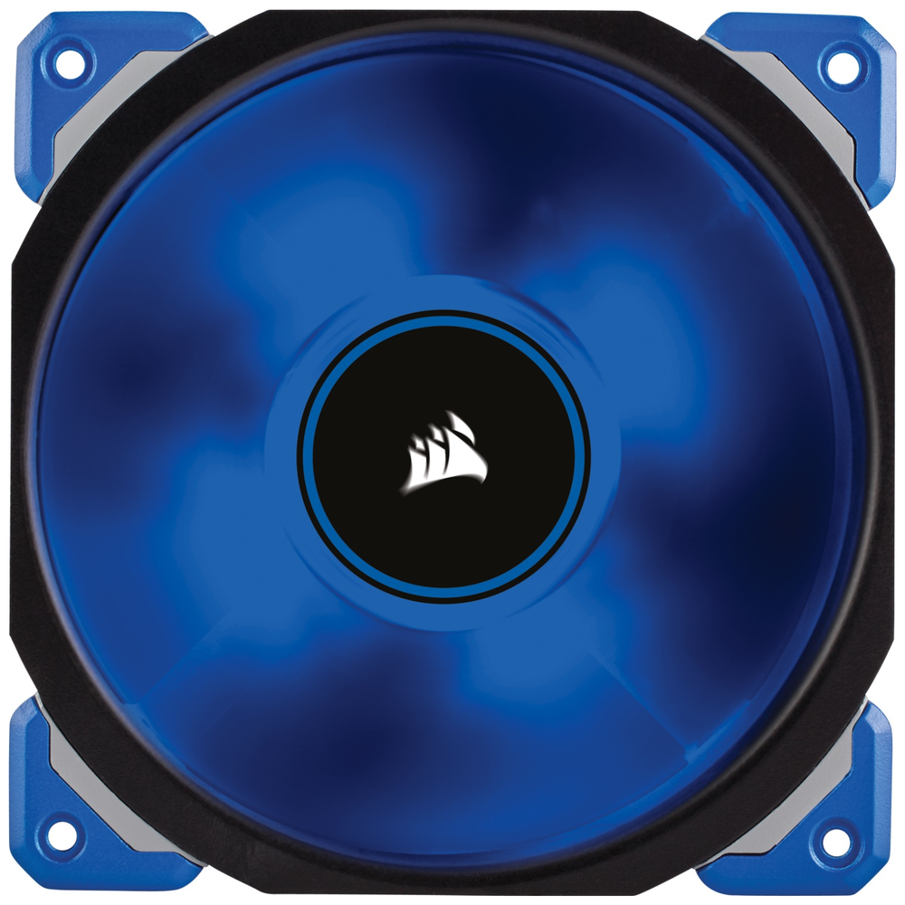 A large main feature product image of Corsair ML120 Pro 120mm Mag-Lev Blue LED Cooling Fan