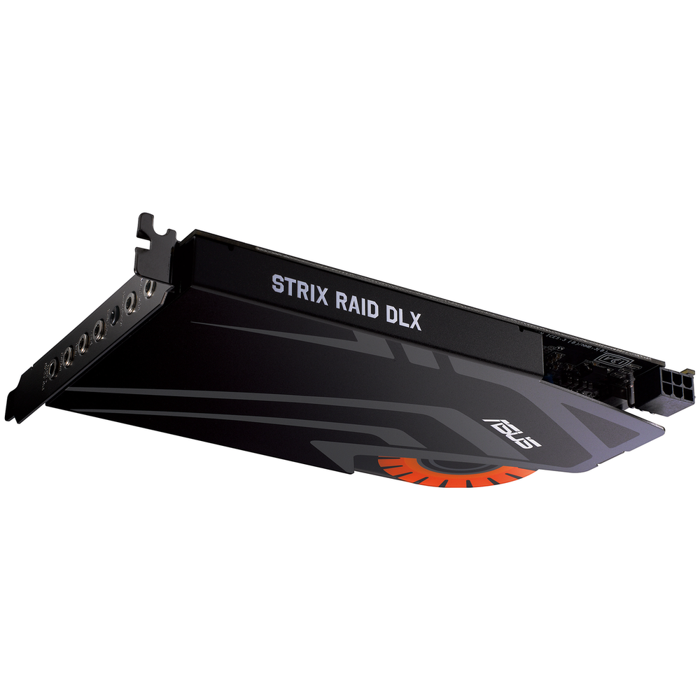 A large main feature product image of ASUS Strix Raid Pro 7.1 PCIe Sound Card
