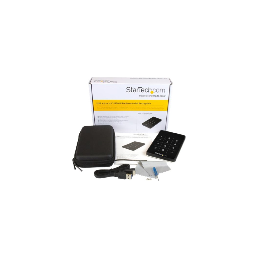 A large main feature product image of Startech USB3.0 Encrypted 2.5in SATA HDD Enclosure