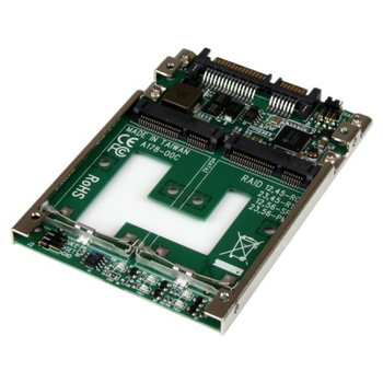 """Product image of Startech Dual mSATA SSD RAID to 2.5"""" SATA RAID Adapter Converter - Click for product page of Startech Dual mSATA SSD RAID to 2.5"""" SATA RAID Adapter Converter"""