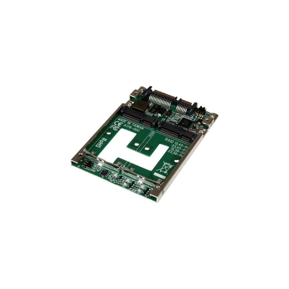 "A large main feature product image of Startech Dual mSATA SSD RAID to 2.5"" SATA RAID Adapter Converter"