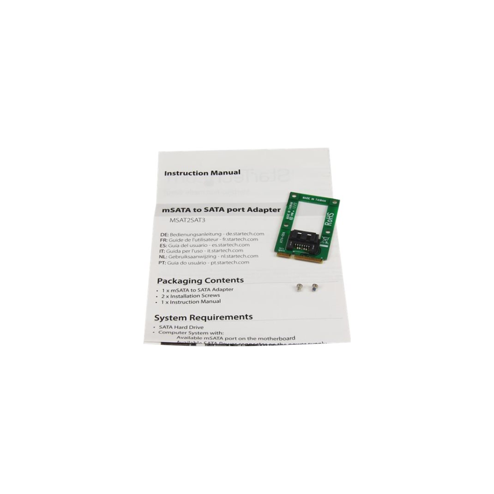 A large main feature product image of Startech mSATA to SATA HDD/SSD Adapter Converter