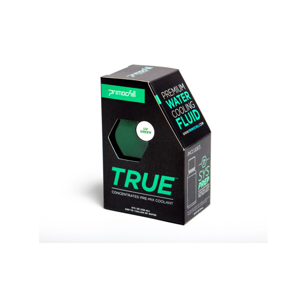 A large main feature product image of PrimoChill True Infused – Insanely Concentrated Liquid Pre-Mix – UV Green