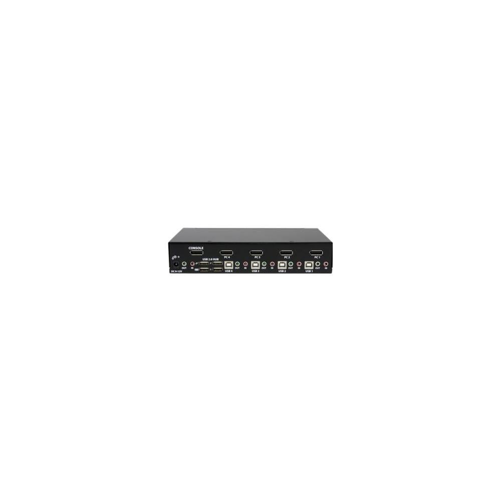 A large main feature product image of Startech 4 Port USB DisplayPort KVM Switch