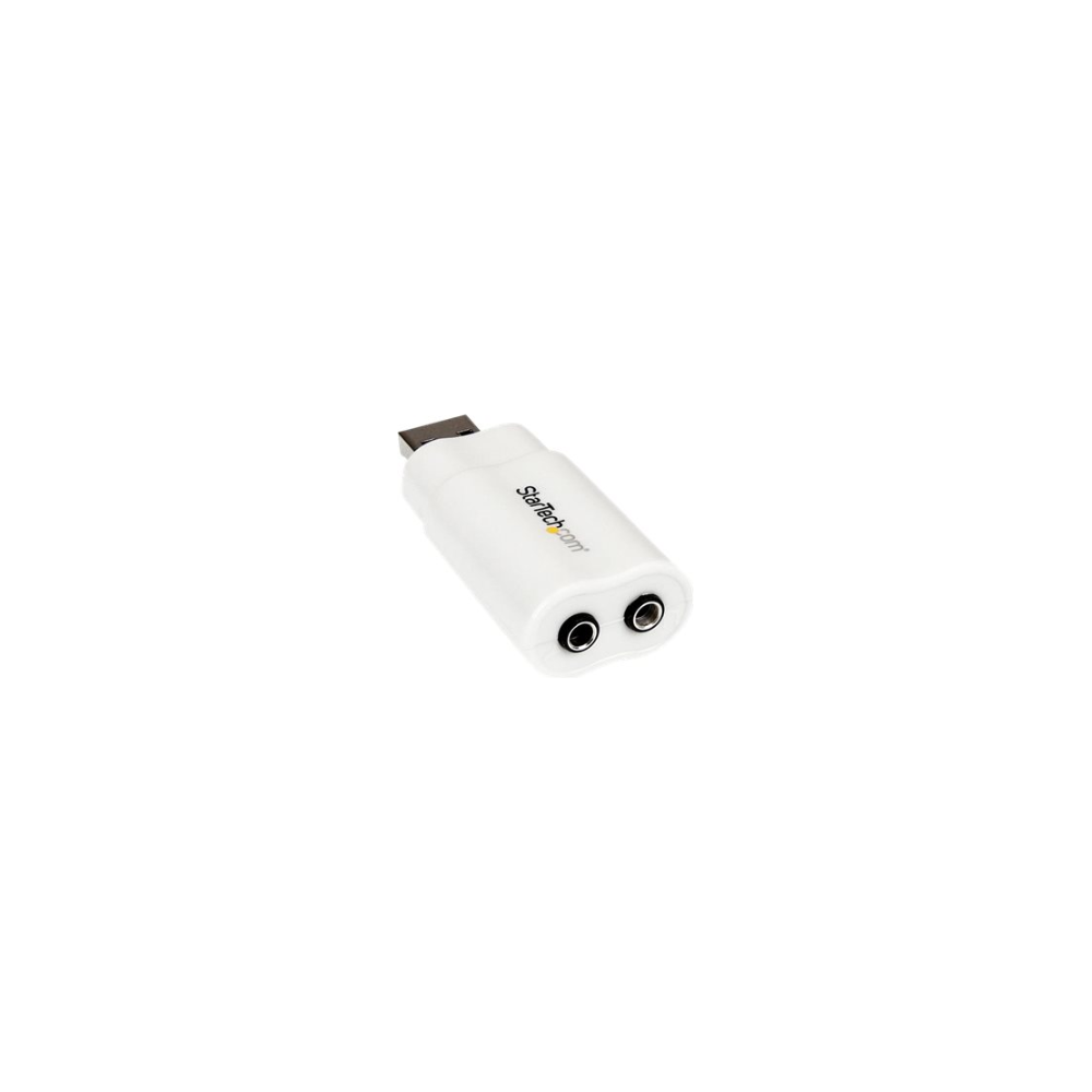 A large main feature product image of Startech USB to Stereo Audio Adapter Converter