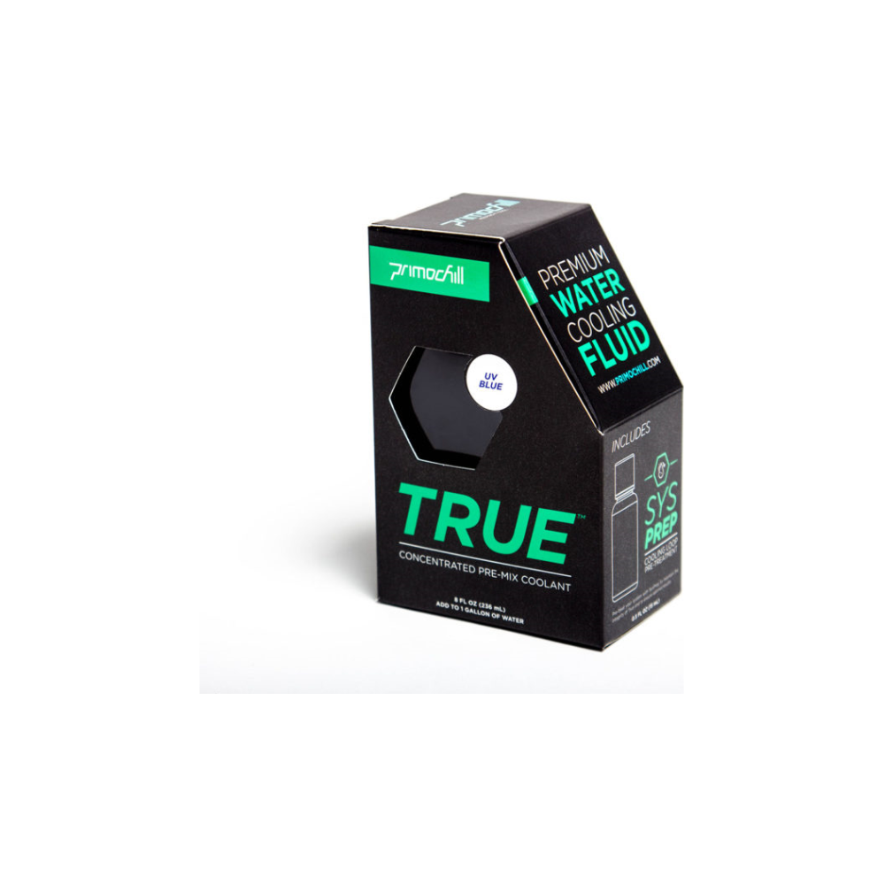 A large main feature product image of PrimoChill True Infused – Insanely Concentrated Liquid Pre-Mix – UV Blue