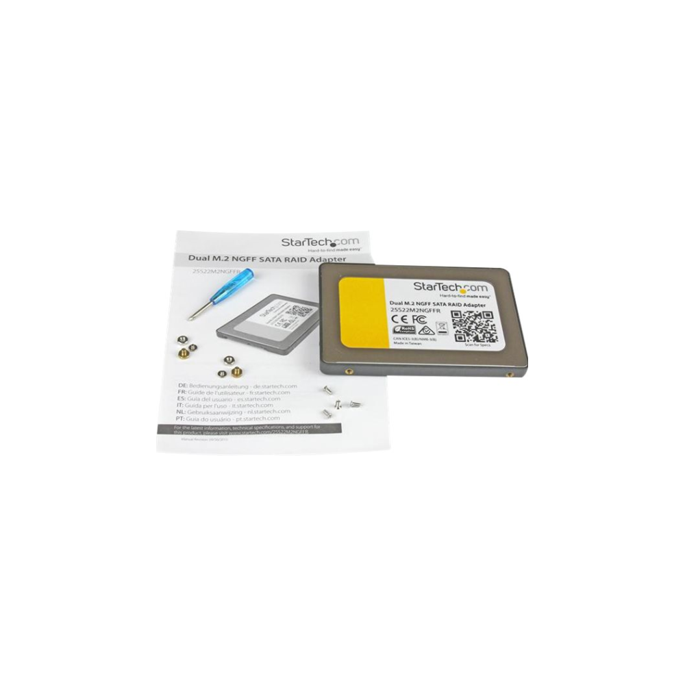 """A large main feature product image of Startech 2x M.2 NGFF SSD to 2.5"""" SATA Adapter w/ RAID & TRIM Support"""
