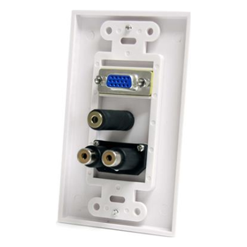 Product image of Startech 15-Pin Female VGA Wall Plate with 3.5mm and RCA - White - Click for product page of Startech 15-Pin Female VGA Wall Plate with 3.5mm and RCA - White