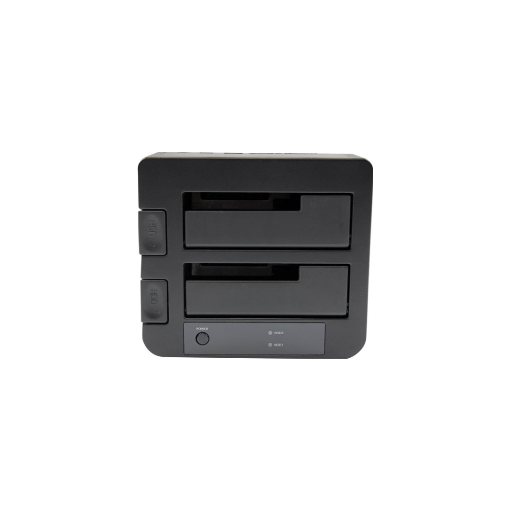 """A large main feature product image of Startech eSATA/USB 3.0 Dual 2.5/3.5"""" SATA SSD/HDD Dock with UASP"""