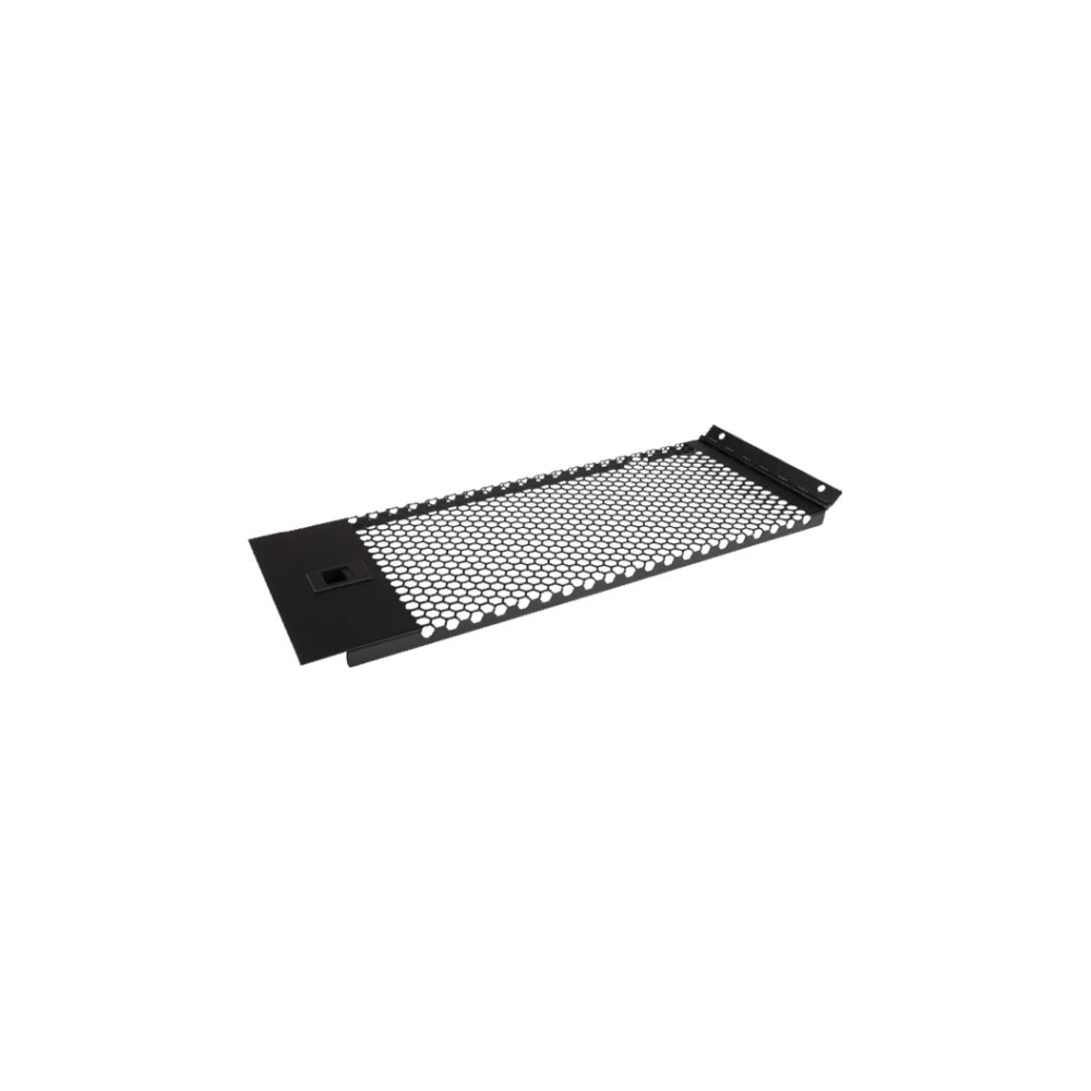 A large main feature product image of Startech Vented Blank Panel with Hinge for Server Racks - 4U